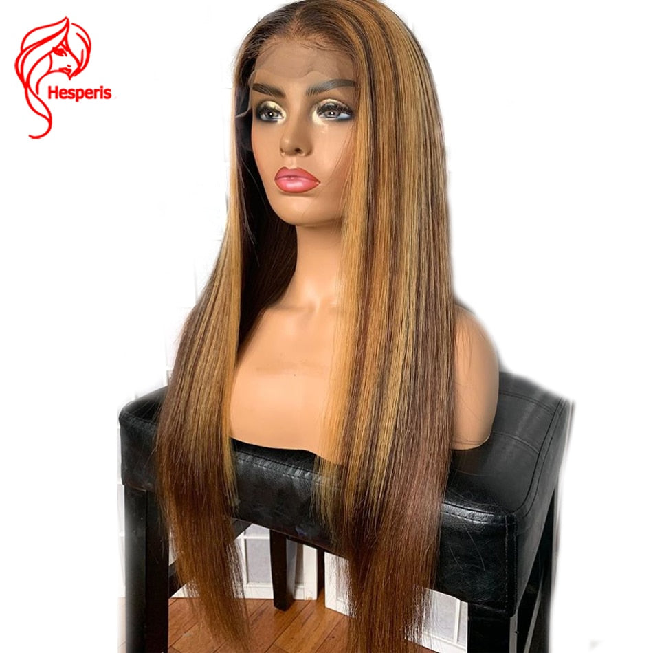 Hesperis13x6 Lace Front Human Hair Wig Brown And Blond Highlight Wigs Brazilian Remy 360 Lace Frontal Wig Blonde Highlighted