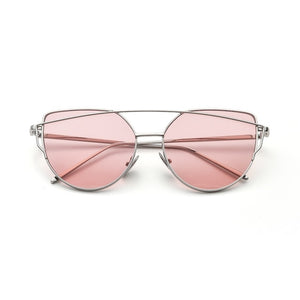 W&E New Fashion Cat Eye Sunglasses Women Mirror Reflective Luxury Brand Designer  Metal alloy Frame UV400 Lens Retro Sunglasses