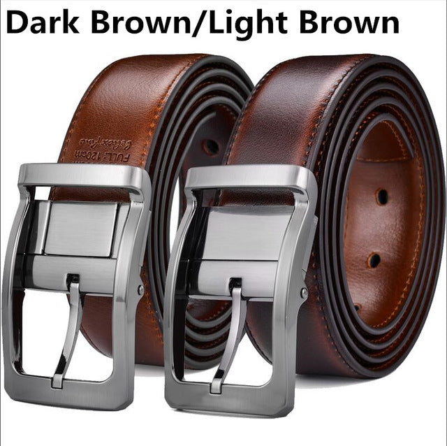 Men's Reversible Classic Dress Belt Italian Leather 85cm to 160cm  Rotating Buckle by Beltox fine