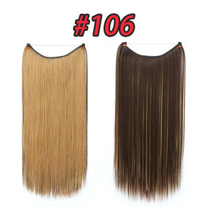 Pageup One Piece Long Blonde Hair Extensions Invisible Synthetic Hair Pieces For Women Fish Line Invisible Hair Extension