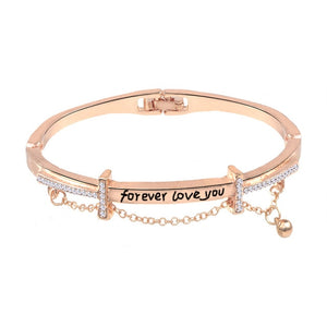 Luxury Famous Brand Jewelry Rose Gold Stainless Steel Bracelets & Bangles Female Heart Forever Love Charm Bracelet For Women
