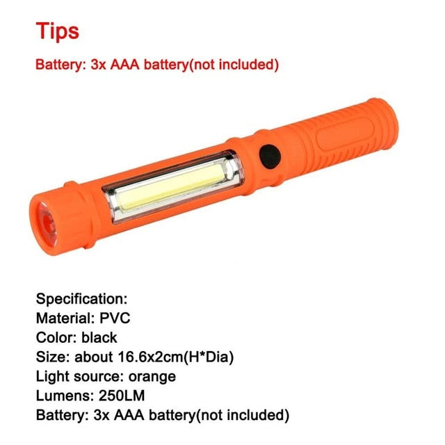 USB Charging LED Flashlight COB Rechargeable Magnetic Pen Clip Hand Torch Work Light For Camping Lanterna Tactical Night Light