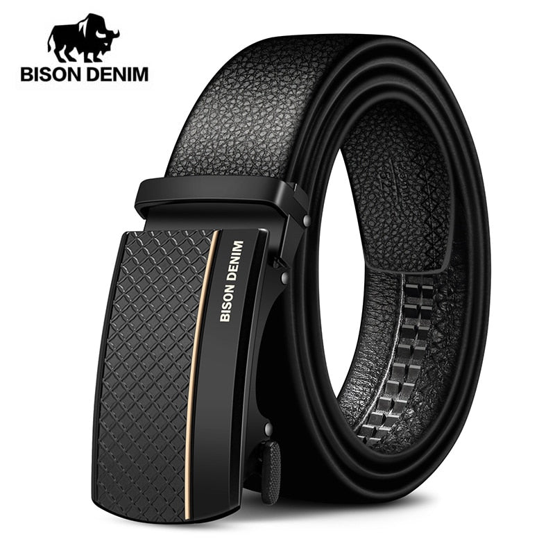 BISON DENIM Genuine Leather Automatic Men Belt Luxury Strap Belt for Men Designer Belts Men High Quality Fashion Belt N71481