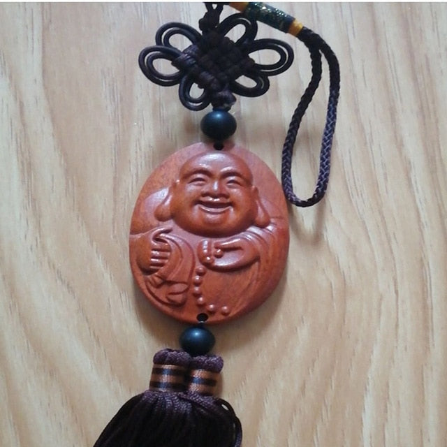 Wood Carving & Buddha Beads Chinese Buddhism Halloween gifts Shakyamuni Statue Sculpture Amulet Car Pendant Netsuke AHJ004