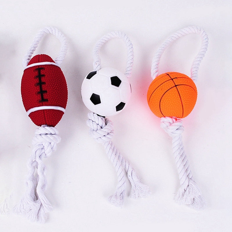 Interactive Funny Pet Ball Toy With Rope Knot  Bite Resistant Non Toxic Chew Molar Dog Teeth Cleaning Toy