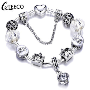 CUTEECO 925 Fashion Silver Charms Bracelet Bangle For Women Crystal Flower Fairy Bead Fit Brand Bracelets Jewelry Pulseras Mujer