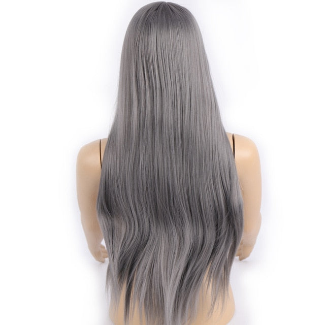 DIFEI  Long Straight Synthetic Wig Mixed Brown and  Long Wigs for White /Black Women Middle Part Nature Wigs
