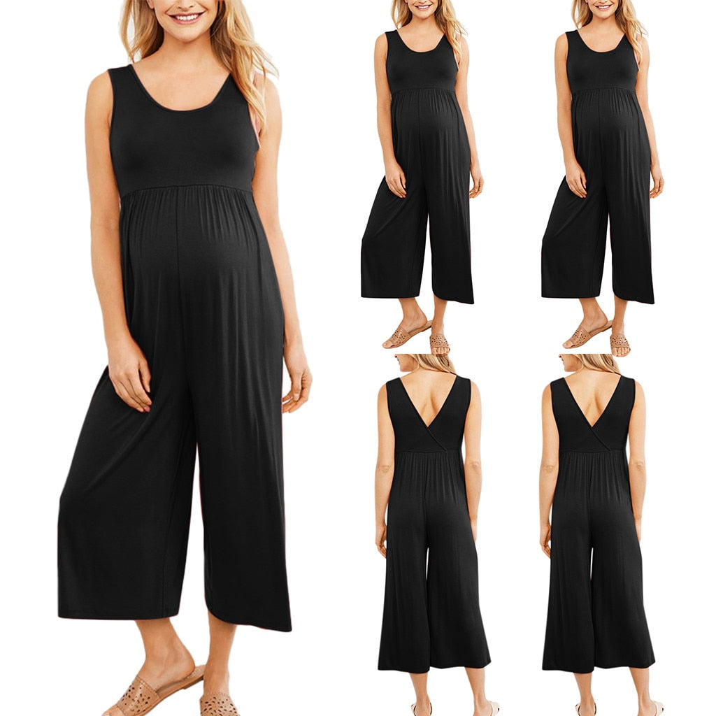 2019 womens clothing Maternity pregnancy pants clothes for women spodnie ciazowe Solid Ladies Summer Jumpsuit For pregnant women