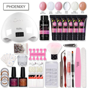 Nail Kit Poly Gel Set 48w LED Lamp Nail Gel Polish Set Quick Building For Nail Extensions Hard Jelly Gel Polygel Manicure Set