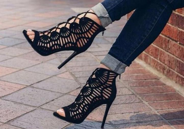 Gladiator Roman Summer Sandals Cross-tied Boots Women New Sexy Hollow Peep Toe High Heels Shoes Woman Stiletto 2019 jkm