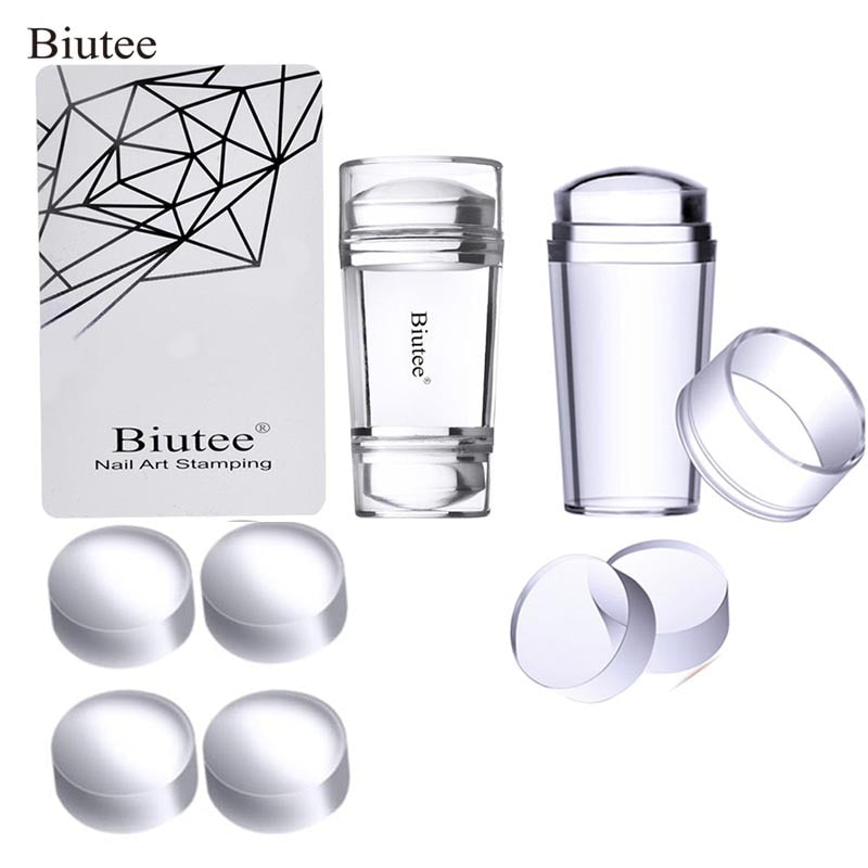 Biutee Nail Art Templates Pure Clear Jelly Silicone nail stamping plates Scraper with Cap Transparent 2.8cm Nail Stamp Nail Art