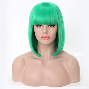 Rosa Star Short Straight Synthetic Bob Wigs With Bangs For Women Black Heat Resistant Cosplay Costume Wig 13 Color