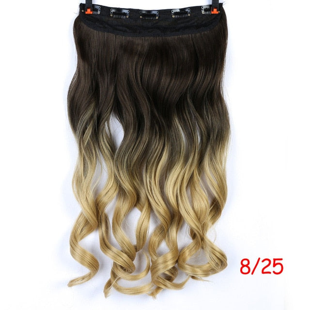 DIFEI 24 inch Long curly Women Clip in Hair Extensions Black Brown High Tempreture Synthetic Hair Piece