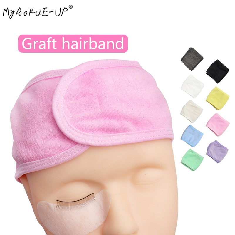 Makeup Hairband Eyelashes Extension Spa Facial Headband Makeup Wrap Head Terry Cloth Headband Stretch Towel with Magic Tape