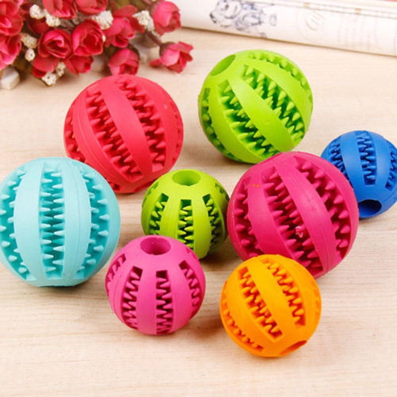 Dog Ball Chew Pet Puppy Teething Treat Clean Bite Toy Durable Training Rubber