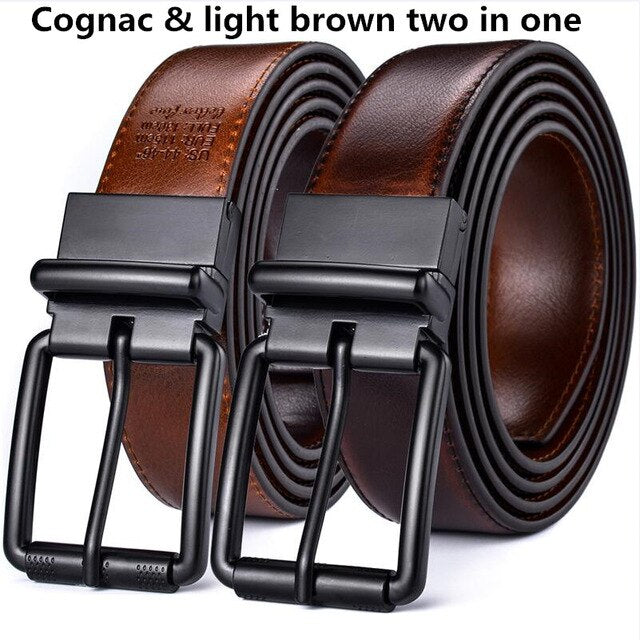 Men's Casual Jean Belt Leather Reversible Belt  Roller Buckle 34MM One Reverse for 2 Colors