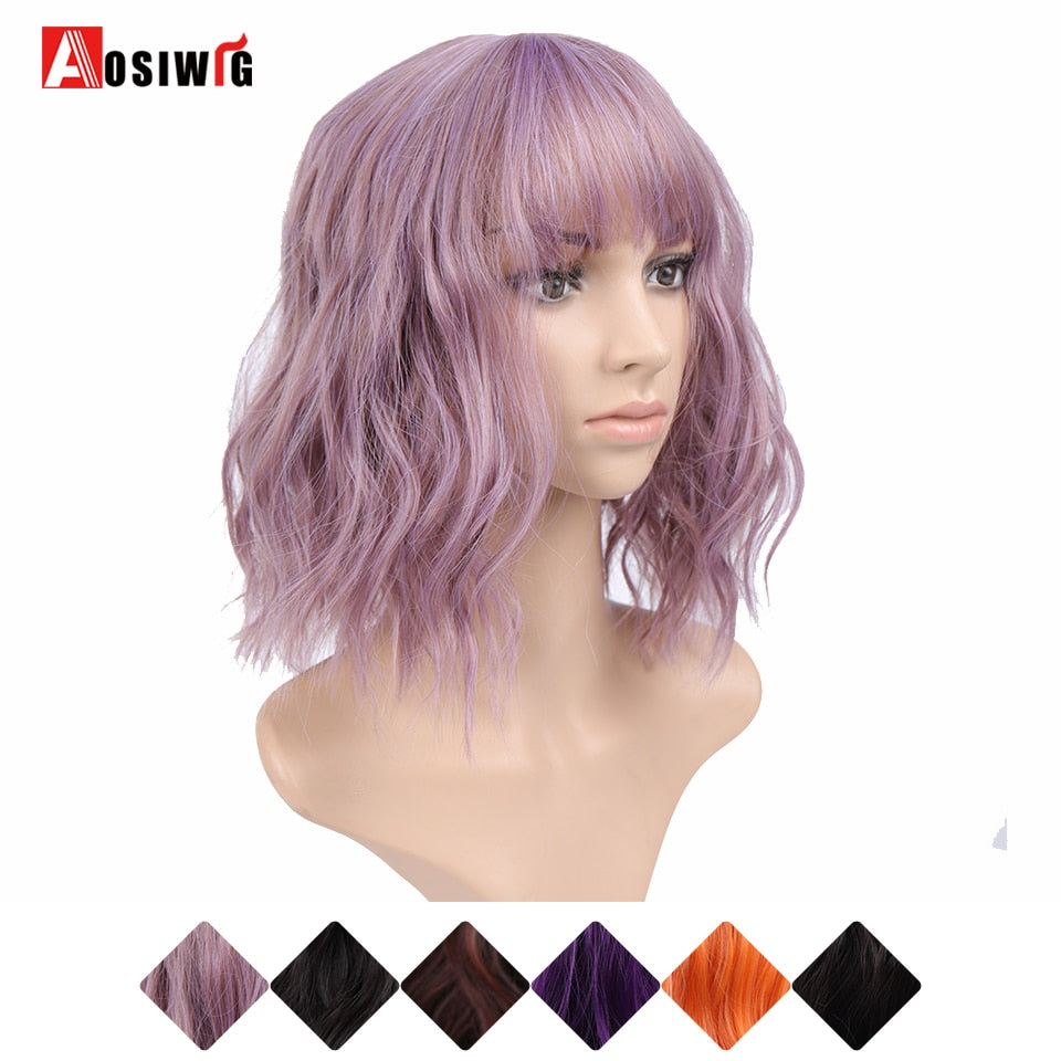 AOSI Bob Wig Short Wavy Synthetic Mix Purple Orange Black Dark Brown Cosplay Wigs For Women Bangs Female Heat Resistant Fiber