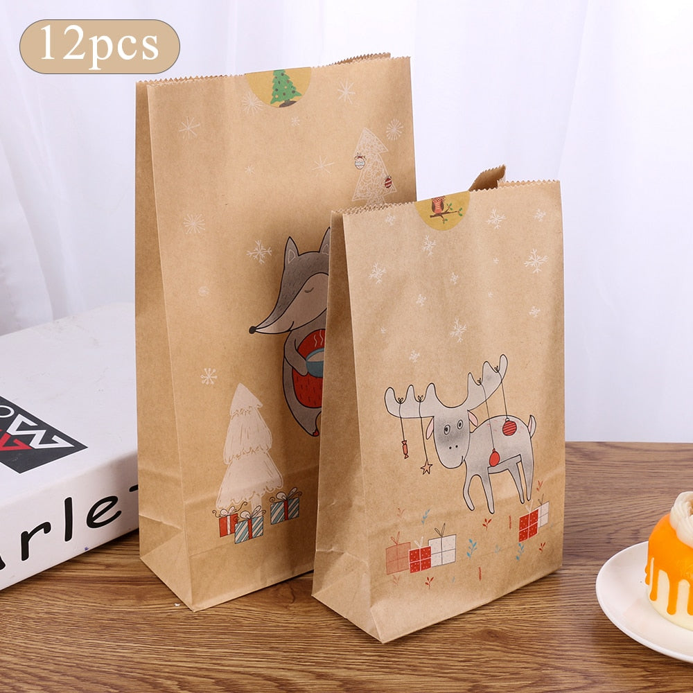 12pcs Christmas Kraft Paper Bag