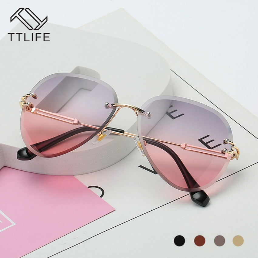 TTLIFE Cut Clips Vintage Women Sunglasses Gradient Multi-Color Marine Lenses Sun Glasses Round Frog Mirror Metal Frames Pink