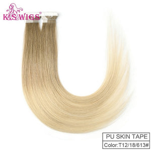 K.S WIGS Straight Remy Hand Tied Tape PU Skin Weft Human Extensions Salon Samples 10pcs For Testing 16'' 20'' 24''
