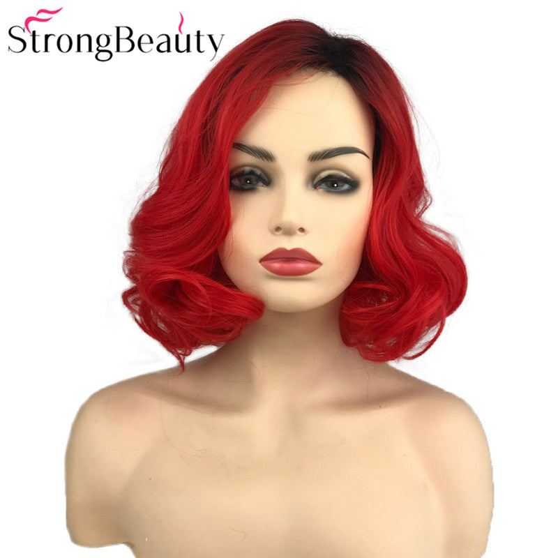 StrongBeauty Short Red Wigs Body Wave Synthetic Wig Women Lady Heat Resistant Hair