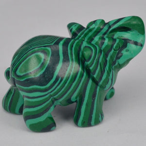 Elephant Figurines Craft Carved Green Taiwan Turquoise Mini Animal Statue Decor Chakra Healing 2 Inch