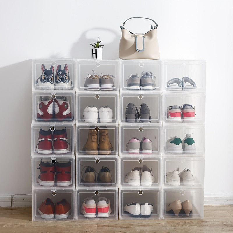 Stackable Shoes Storage Box Durable Sneaker Plastic Cabinet Closet Desktop Cosmetic Storage Finishing Drawer Case Space Save Bin