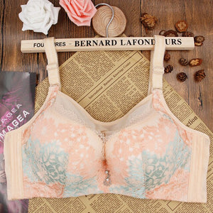 Large Size Bras For Women Floral Printed Adjusted Full Cup Big Push Up Bra B C D Bralette Sexy Plus Size Brassiere Femme Bh