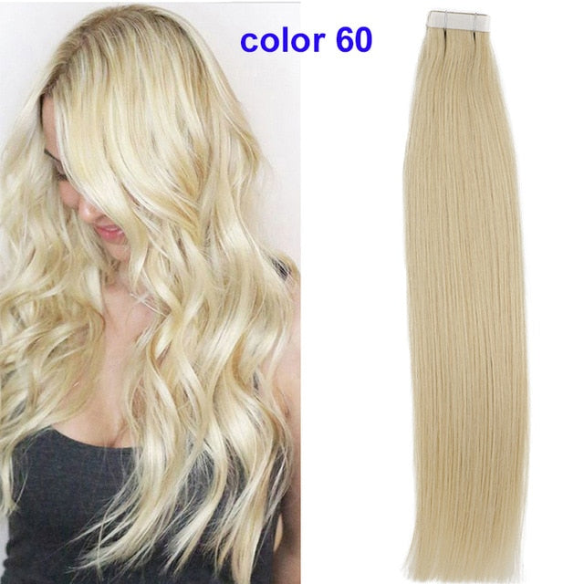 "sindra 14""- 24"" Tape in Human Hair Extensions Straight Remy On Adhesive Invisible PU Weft Extensions Balayage Color #6 to 613b"