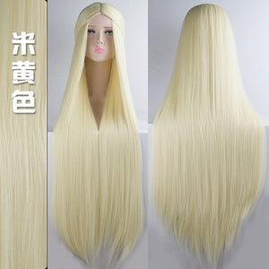MUMUPI Cos Wig Blonde Blue Red Pink Grey Purple Hair for Party 100CM Long Straight Synthetic cosplay Wigs for Women