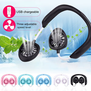 Personal Wearable Portable Fan -in Lithium Battery Neckband Wireless Fans Adjustable 3 Wind Speed Hand-free USB Chargeable