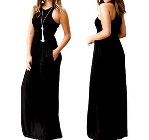Casual Women O Neck Sleeveless Tank Long Dress Female Solid Long Maxi Dress Daily Basic Dress Hot Sale