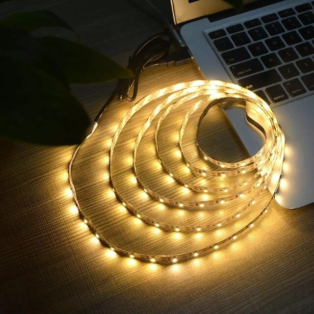 5V USB Power LED Ceiling Lights Stripe Tape Lamp Strip 2835 SMD Under Cabinet Rope Light RGB LED For Living Room Decoration 5M