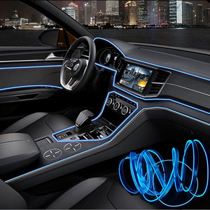 Car Interior Lighting Auto LED Strip 1M/3M Garland EL Wire Rope Tube Line flexible Neon Light With 12V USB Cigarette Drive