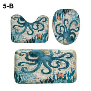 Turtle Tower Octopus Polyester Shower Curtain Toilet Lid Cover Floor Mat Bathroom Suppliers for Shower Room Rug Floor Mats