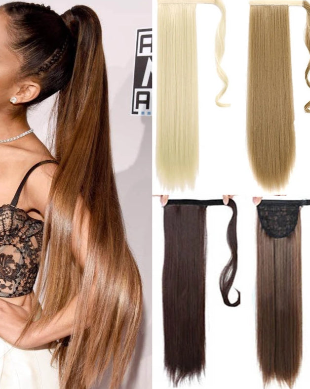 AOOSOO 24 inch Silky Straight Synthetic Clip in Drawstring Ponytail Hairpieces for Women Hair Extension High Temperature Fiber
