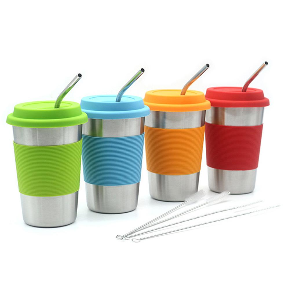 500ML 4pcs Stainless Steel Cup Stainless Steel Drinking Glasses Stackable Durable Cup Perfect For Outdoor Activities Kids Adults