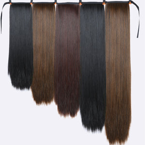 Xnaira Fake Hair Pieces 18-38 Inch Afro Long Straight Drawstring Ponytail Synthetic Hair Bun Pony Tail Clip In Hair Extensions
