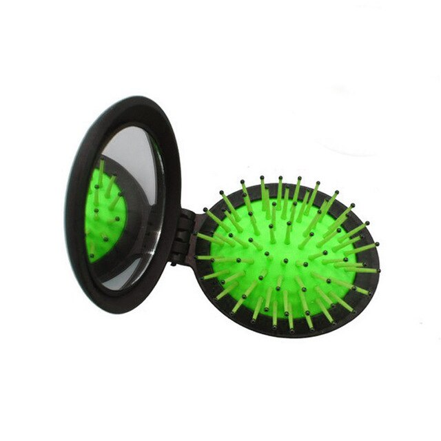 Hair Comb Folding Massage Hair Brush Round  Mini Airbag Rainbow Comb With Mirror Travel Hairbrush Makeup Comb