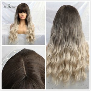 ALAN EATON Ombre Blonde Black Brown Cosplay Lolita Wigs With Bangs Long Wavy Synthetic Hair Wig For Women High Temperature Fiber