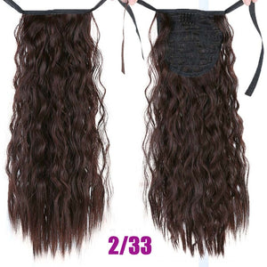 MEIFAN Long Corn Curly Ponytail Synthetic Hair Pieces Ribbon Drawstring Clip on Ponytail Hair Extensions False Hair Pieces