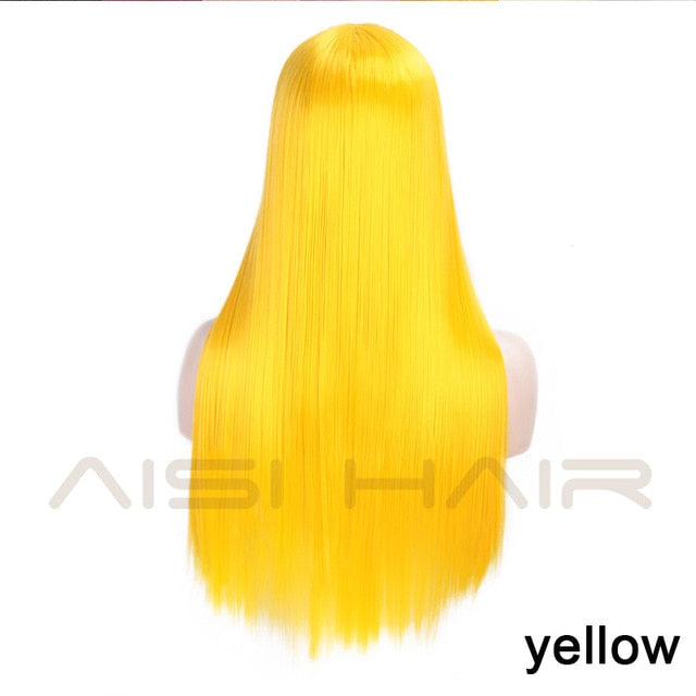 AISI HAIR Lace Front Wigs for Women Yellow Synthetic Long Straight Wigs Middle Parting Heat Resistant Fiber Natural Looking 13X4