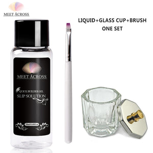 MEET ACROSS Poly Uv Gel Nail Varnish Slip Solution Set Odorless Alcohol Substitutes Brushes Glass Jar kit Nail polish