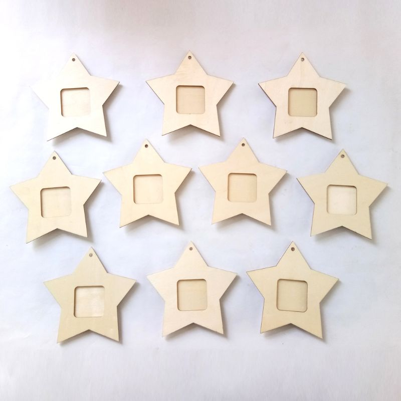 10Pcs Wooden Mini Star Photo Frame Picture
