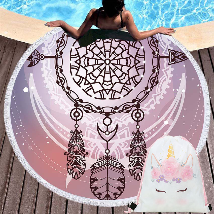 150cm Round Dream catcher Feather Beach Towels