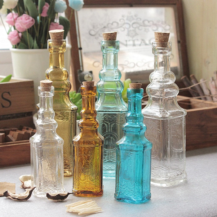 Small Vintage Carved Glass Vase  Tower Vase For Home Decoration Photo Prop Vintage Glass Bottle Green Plant Glass Flower Vases