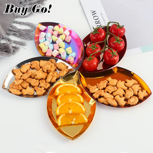 New Leaf-shaped Stainless Steel Jewelry Ring Storage Trays Candy Dessert Plate Fruit Plate Rainbow Cookies Dish Home Decorative