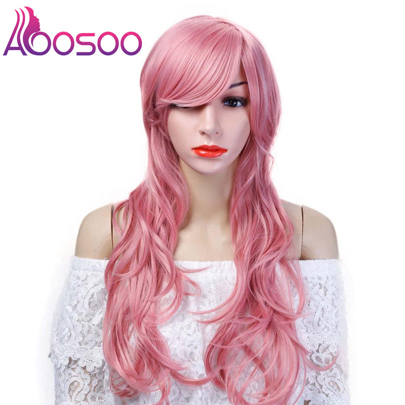 Long Pink Purple Orange Green White red Wigs For Black Women girls Wave Hair Female Peruca Curly Copper  colourful  party wig