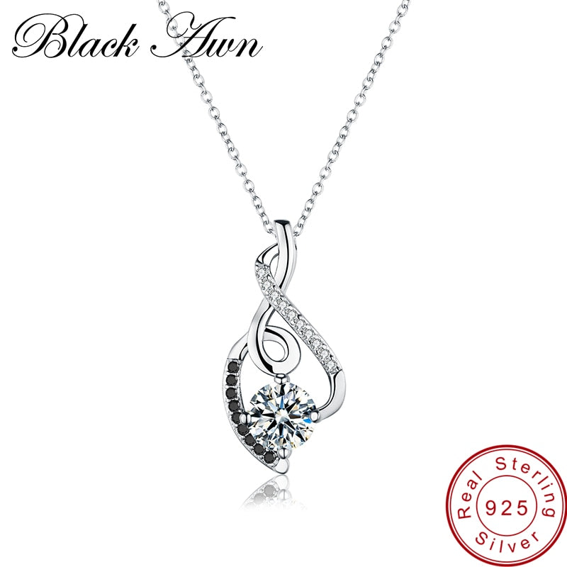 [BLACK AWN] Femme Genuine 100% 925 Sterling Silver Necklaces Pendants Jewelry Black&White Stone Necklace Women Bijoux P081