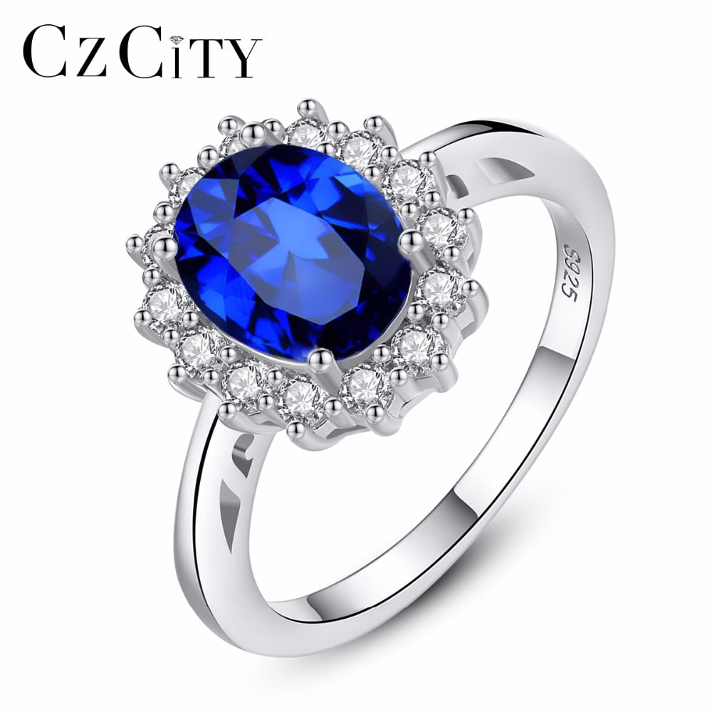 CZCITY Princess Diana William Kate Sapphire Emerald Ruby Gemstone Rings for Women Wedding Engagement Jewelry 925 Sterling Silver